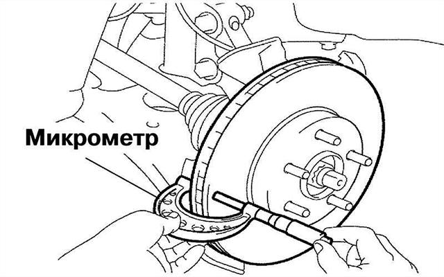 измерение толщины тормозного диска с помощью микрометра